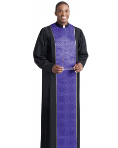 Vicar Pastor Robe Black with Royal Purple