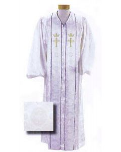 Custom Tailored White Brocade Pulpit Robe with Cross and Crown