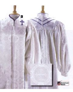 Women's White Brocade Pulpit Gown with Cross
