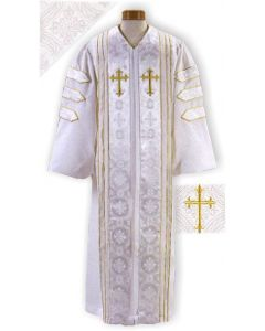 White Clergy Robe with Brocade Panels and Doctoral Bars