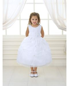First Communion Dress Gathered Skirt with Flowers