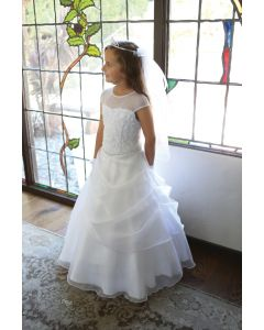 First Communion Dress with Layered Organza Skirt