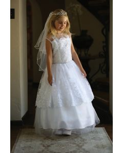 First Communion Dress with Layered Lace Trim