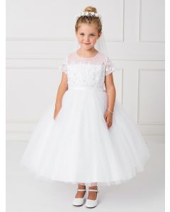 Holy Communion Dress with Short Sleeves and Lace