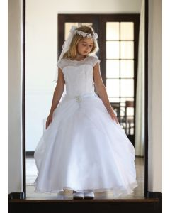 Organza First Communion Dress with Cap Sleeves