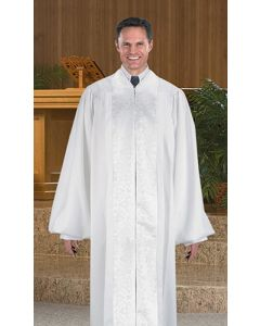 White Pulpit Robe with Brocade Panels