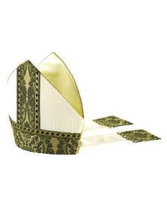Cream with Green Roncalli Tapestry Bishop Mitre
