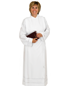 Women's Clergy Alb White with Lace Cuffs
