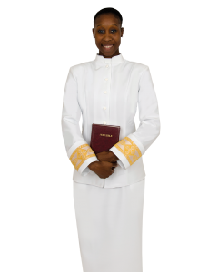 Women's Clergy Jacket with Fleur Banding