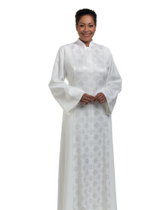 Women's Clergy Robe Abigail White with Brocade