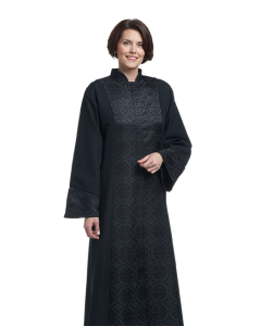 Women's Black Clergy Robe with Black Brocade