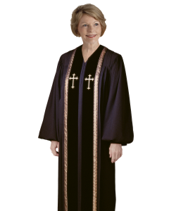 Women's Black Clergy Robe with Gold Trim