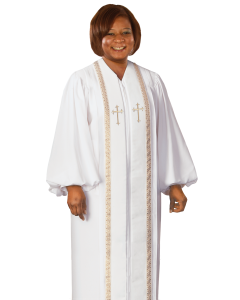 Women's White Clergy Robe with Gold Trim