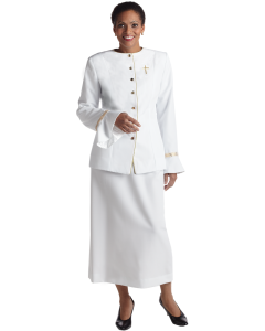 Women's Clergy White Jacket with Gold Banding