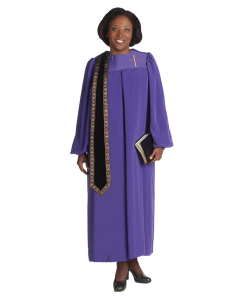 Women's Evangelist Clergy Robe Purple with Detachable Stole