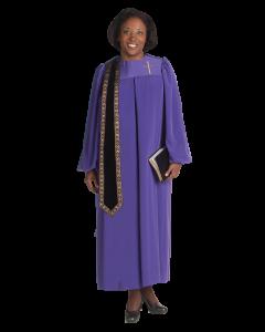 Women's Evangelist Clergy Robe Purple with Detachable Stole