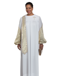 Women's White Evangelist Clergy Robe with Gold Stole