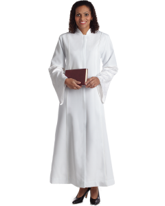 Women's White Clergy Robe with Jerusalem Brocade