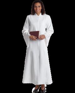 Women's White Clergy Robe with Jerusalem Brocade