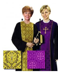 Women's Black Clergy Robe with Gold Tapestry Panel (shown on left)