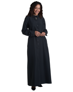 Women's Black Clergy Church Dress with Latin Cross