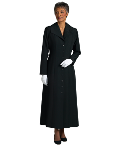 Women's Black Clergy Church Dress with Praying Hands