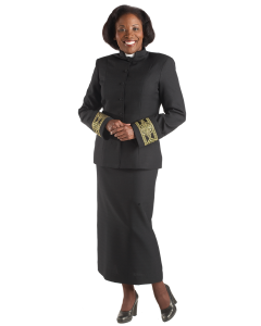 Womens Clergy Jacket Black with Gold Banding