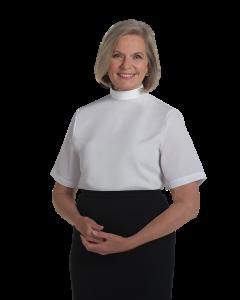 Women's Short Sleeve White Neckband Collar Clergy Blouse