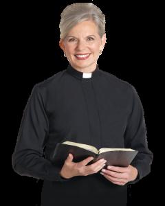 Womens Tab Collar Clergy Blouse Black Long Sleeve
