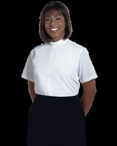 Womens Tab Collar Clergy Blouse White Short Sleeve