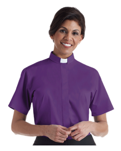 Women's Tab Collar Purple Short Sleeve Clergy Blouse