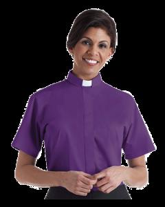 Women's Tab Collar Purple Short Sleeve Clergy Blouse