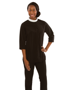 Womens  Black Tunic Neckband Collar Clergy Blouse