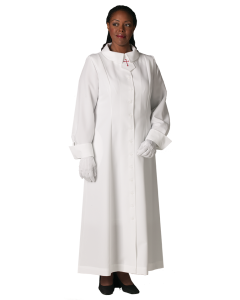 Women's White Clergy Church Dress with Latin Cross