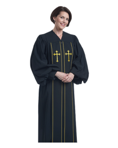Women's Black Clergy Robe with Crosses