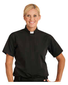 Women's Short Sleeve Black Clergy Blouse