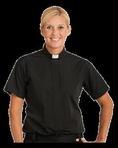 Women's Short Sleeve Black Clergy Blouse