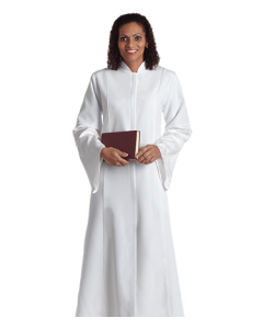 Women's White Clergy Robe Bethany