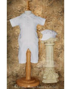 Boys Polycotton Christening Romper Style Lucas