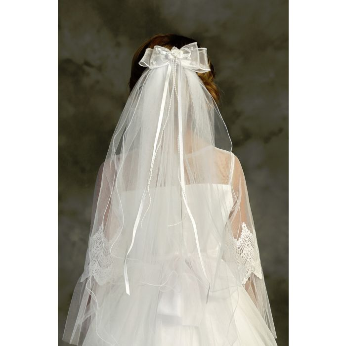 Bow Comb First Communion Veil  pearl and satin streamers