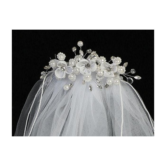 First Communion Veil Organza Flowers and Rhinestones on Comb