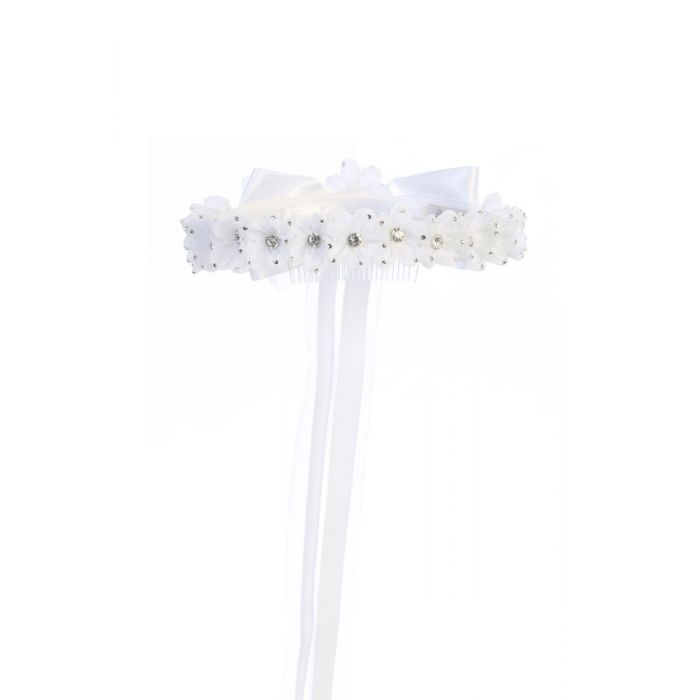 First Communion Gem Flower Crown Headpiece