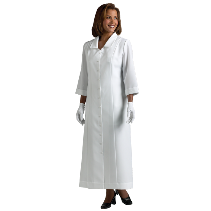 Women's White Clergy Dress with Praying Hands