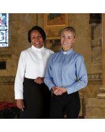 Long Sleeve Women's Tab Collar Clergy  Blouse