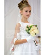 First Communion Mantilla Long Scalloped Lace