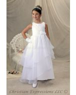 First Communion Dress Layered Organza Skirt Lace Up Back