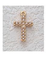 First Communion GOLD PEARL CROSS w/CHAIN