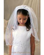 First Communion Headband Veil with Rosettes