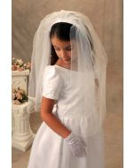 First Communion Headband Veil with Pearls and Flowers