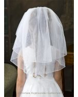 First Communion Veil Two Tier with Scattered Pearls